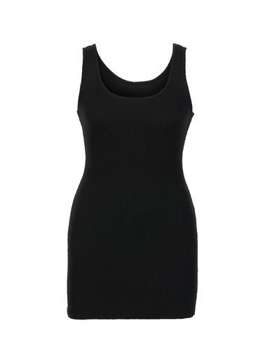 Gusto Kadın Siyah Askılı Dar Kesim Triko  Elbise 20SEM1008YS Siyah